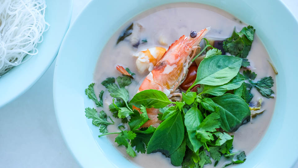 Tom kha shrimps