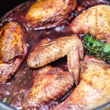Kuře kohout na víně