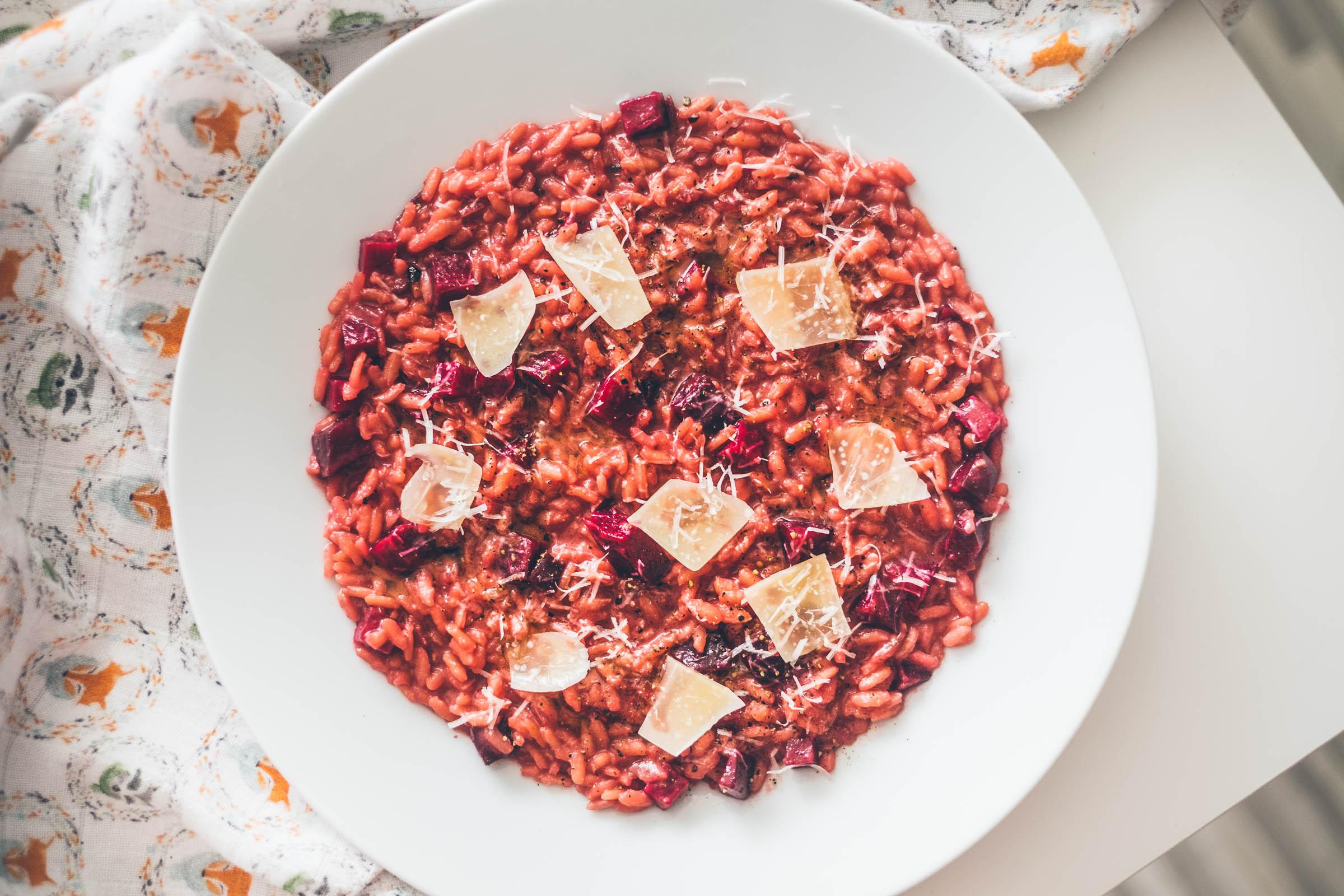 Krémové risotto sčervenou řepou
